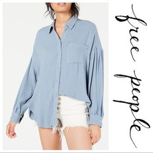 Free People Button Down Top Rainfall
